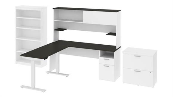"""Adjustable Height Desks & Tables Bestar Office Furniture 48""""W Standing Desk and 72""""W Credenza with Hutch, Bookcase and Lateral File Cabinet"""