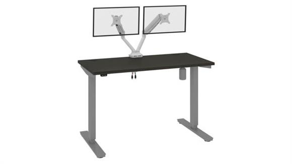 """Adjustable Height Desks & Tables Bestar Office Furniture 48""""W x 24""""D Standing Desk with Dual Monitor Arm"""