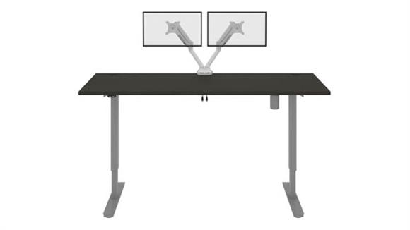 """Adjustable Height Desks & Tables Bestar Office Furniture 72""""W x 30""""D  Standing Desk with Dual Monitor Arm"""