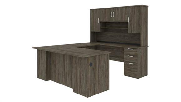 U Shaped Desks Bestar Office Furniture U-Shaped Executive Desk with Hutch