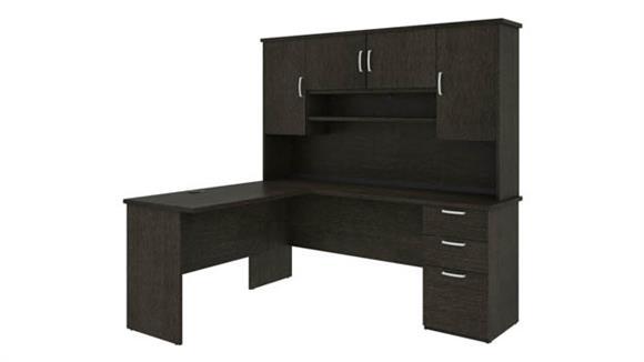"L Shaped Desks Bestar Office Furniture 72""W L-Shaped Desk with Hutch"