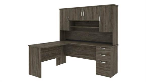 "L Shaped Desks Bestar Office Furniture 72"" W L-Shaped Desk with Hutch"