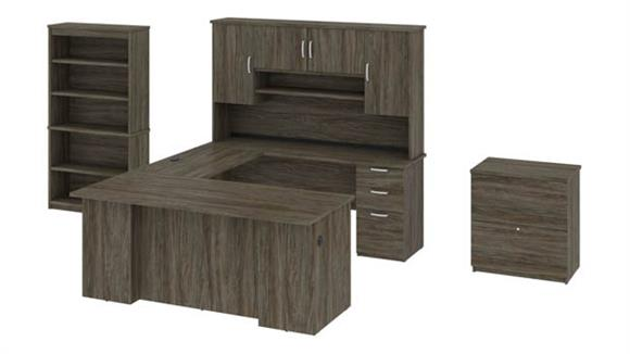 U Shaped Desks Bestar Office Furniture U-Shaped Executive Desk with Hutch, Lateral File and Bookcase