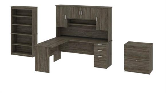 L Shaped Desks Bestar Office Furniture L-Shaped Executive Desk with Hutch, Lateral File and Bookcase