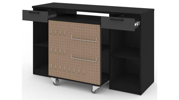 Storage Cabinets Bestar Office Furniture 2-Piece Workbench and Mobile Storage Unit