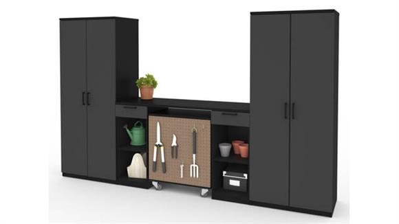 Benches Bestar Office Furniture 4-Piece Workbench Set