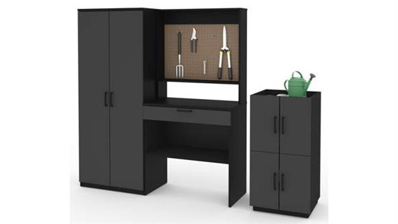 Benches Bestar Office Furniture 4-Piece Workbench, Armoire and 2 Stackable Cabinets