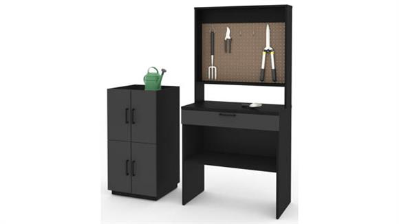 Benches Bestar Office Furniture 4-Piece Workbench and 2 Stackable Cabinets Set