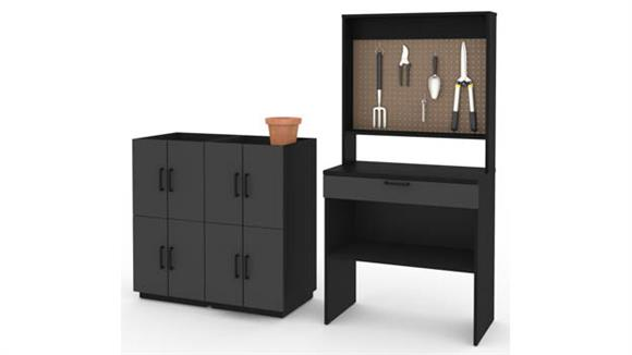 Benches Bestar Office Furniture 4-Piece Workbench and 4 Stackable Cabinets Set