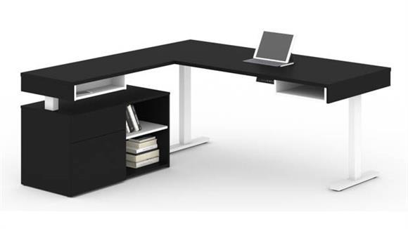 """L Shaped Desks Bestar Office Furniture 72""""W L-Shaped Standing Desk with Credenza"""
