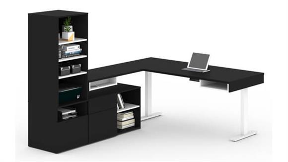"L Shaped Desks Bestar Office Furniture 72""W L-Shaped Standing Desk with Credenza and Storage Unit"