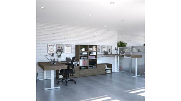 "L Shaped Desks Bestar Office Furniture 72""W L-Shaped Standing Desk with Credenza and Storage Unit (Set of 2)"
