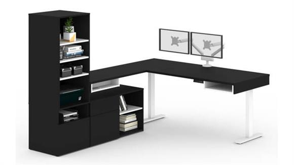 """L Shaped Desks Bestar Office Furniture 72""""W L-Shaped Standing Desk with Credenza, Storage Unit and Dual Monitor Arm"""