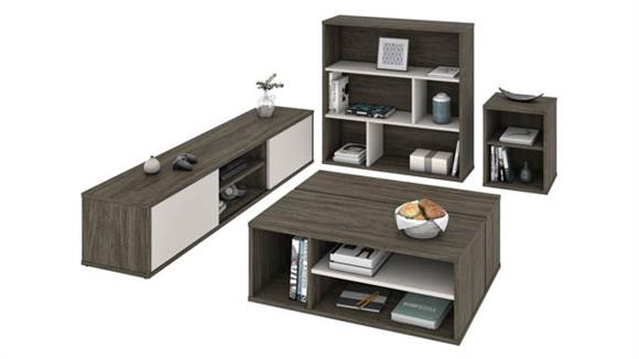Entertainment Centers Bestar Office Furniture 4-Piece Entertainment Set