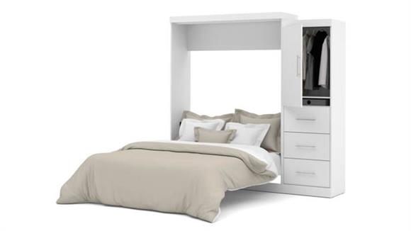 """Murphy Beds Bestar Office Furniture 90"""" W Queen Murphy Wall Bed and Storage Unit with Drawers"""