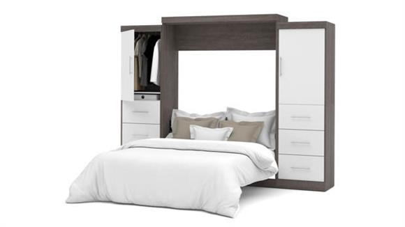 """Murphy Beds Bestar Office Furniture 115"""" W Queen Murphy Wall Bed and 2 Storage Units with Drawers"""