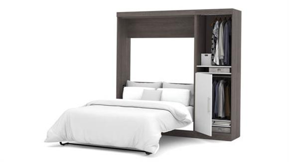 """Murphy Beds Bestar Office Furniture 84"""" W Full Murphy Wall Bed with Storage Unit"""