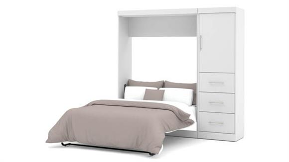 """Murphy Beds Bestar Office Furniture 84"""" W Full Murphy Wall Bed and Storage Unit with Drawers"""