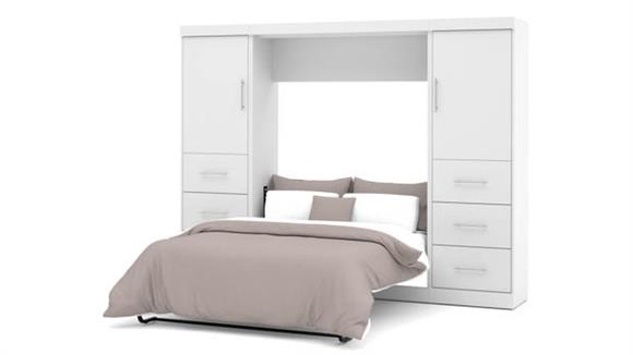 """Murphy Beds Bestar Office Furniture 109"""" W  Full Murphy Wall Bed and 2 Storage Units with Drawers"""