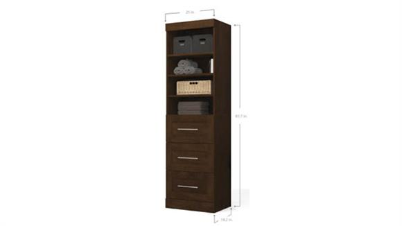 "Storage Cabinets Bestar Office Furniture 25"" Storage Unit with 3-Drawer Set"