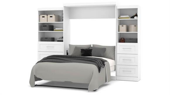 """Murphy Beds Bestar Office Furniture 126"""" W Queen Murphy Wall Bed and 2 Storage Units with Drawers"""