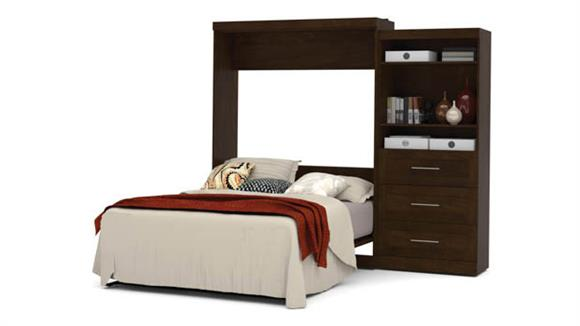"""Murphy Beds Bestar Office Furniture 101"""" W Queen Murphy Wall Bed and Storage Unit with Drawers"""