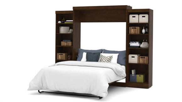 """Murphy Beds Bestar Office Furniture 115"""" W Queen Murphy Wall Bed and 2 Storage Units"""
