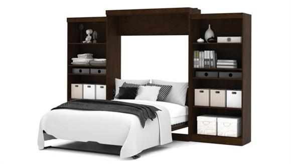 """Murphy Beds Bestar Office Furniture 136"""" W Queen Murphy Wall Bed with 2 Storage Units"""