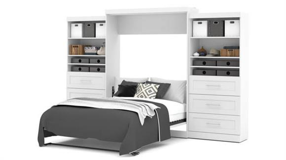 """Murphy Beds Bestar Office Furniture 136"""" W Queen Murphy Wall Bed and 2 Storage Units with Drawers"""