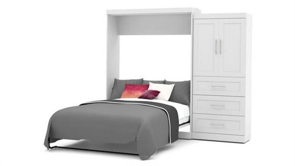 """Murphy Beds Bestar Office Furniture 101"""" W Queen Murphy Wall Bed and 1 Storage Unit with Drawers"""