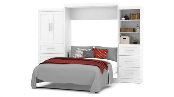 """Murphy Beds Bestar Office Furniture 126"""" W Queen Murphy Wall Bed and 2 Multifunctional Storage Units with Drawers"""
