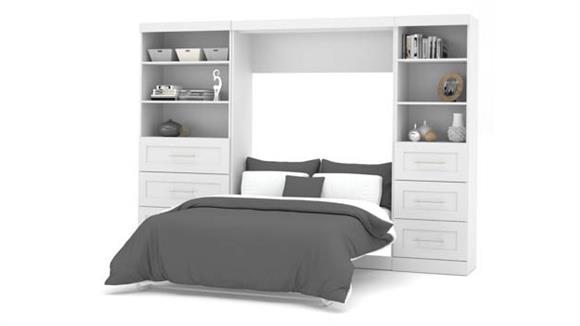 """Murphy Beds Bestar Office Furniture 120"""" W  Full Murphy Wall Bed and 2 Storage Units with Drawers"""