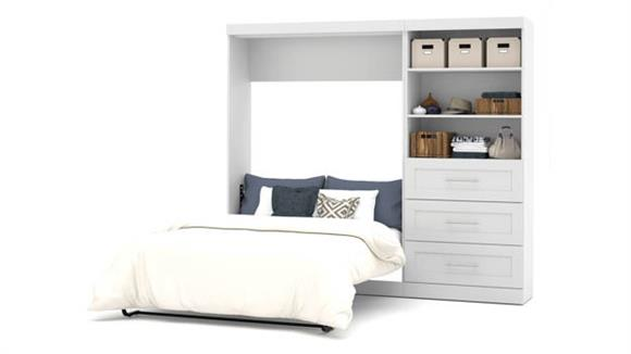 """Murphy Beds Bestar Office Furniture 95"""" W Full Murphy Wall Bed and Storage Unit with Drawers"""