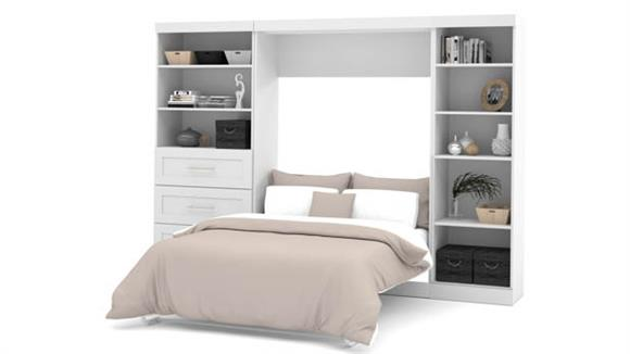 """Murphy Beds Bestar Office Furniture 120"""" W Full Murphy Wall Bed, 1 Storage Unit with Shelves, and 1 Storage Unit with Drawers"""