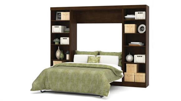 """Murphy Beds Bestar Office Furniture 109"""" W Full Murphy Wall Bed with 2 Storage Units"""