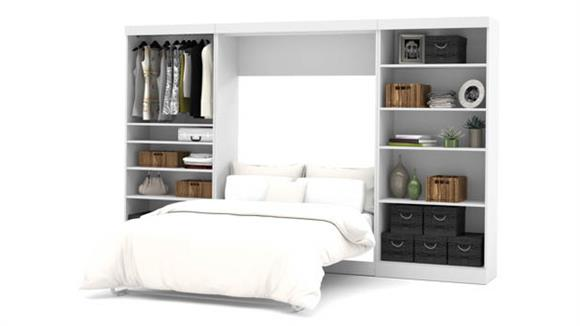 """Murphy Beds Bestar Office Furniture 131"""" W Full Murphy Wall Bed and 2 Storage Units"""
