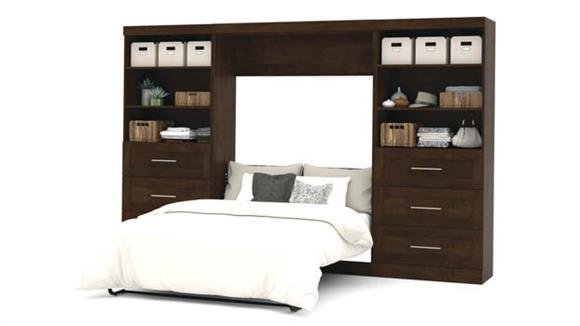 """Murphy Beds Bestar Office Furniture 131"""" W Full Murphy Wall Bed and 2 Storage Units with Drawers"""