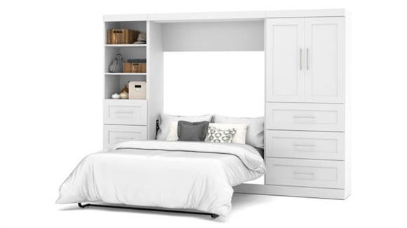 """Murphy Beds Bestar Office Furniture 120"""" W Full Murphy Bed and 2 Storage Units with Drawers"""