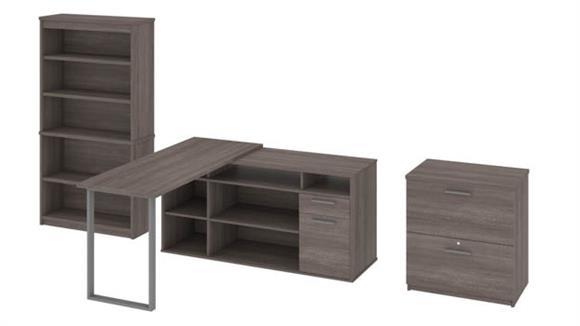 L Shaped Desks Bestar Office Furniture L-Shaped Desk, Lateral File Cabinet and Bookcase