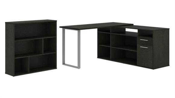 L Shaped Desks Bestar Office Furniture L-Shaped Desk with Asymmetrical Shelving Unit