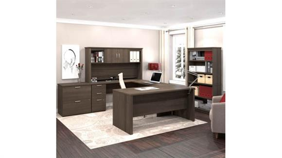 U Shaped Desks Bestar Office Furniture U or L-Shaped Executive Desk with Hutch, Lateral File Cabinet and Bookcase