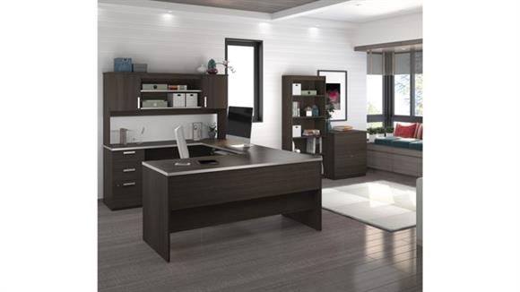 U Shaped Desks Bestar Office Furniture U-Shaped Desk with Lateral File and Bookcase