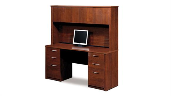 Office Credenzas Bestar Office Furniture Double Pedestal Credenza with Hutch 60851