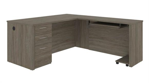 """L Shaped Desks Bestar Office Furniture 66"""" W L-Shaped Desk with Pedestal"""