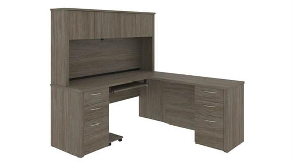 """L Shaped Desks Bestar Office Furniture 66"""" W L-Shaped Desk with Two Pedestals and Hutch"""