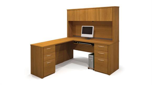 L Shaped Desks Bestar Office Furniture L Shaped Desk with Hutch 60853