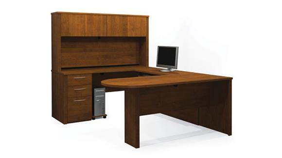 U Shaped Desks Bestar Office Furniture U Shaped Desk with Hutch 60856