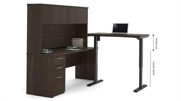 Adjustable Height Desks & Tables Bestar Office Furniture L-Desk with Hutch Including Electric Height Adjustable Table