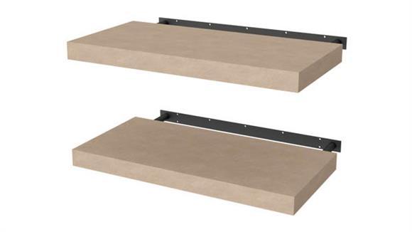 """Shelving Bestar Office Furniture 2 Piece 12"""" x 24"""" Lightweight Floating Shelf Set"""