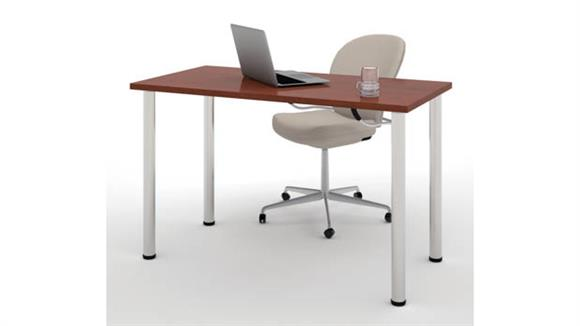 "Computer Tables Bestar Office Furniture 24"" x 48"" Table with Round Metal Legs"